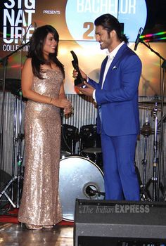 Richa Chadda and Vidyut Jamwal are all smiles as they share the stage together at the FHM 'Bachelor of the Year 2014' awards. #Bollywood #Fashion #Style #Beauty
