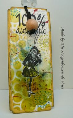 Tag with Bistre, Distress Ink, VivaLasVegaStamps and a Art Specially 2014 text stamp, made by Alie Hoogenboezem-de Vries