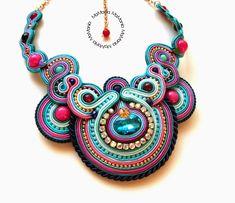 MaMania... Sutasz Soutache Necklace, Earrings, Jewelry Art, Jewlery, Earring Trends, Bracelet Patterns, Shibori, Fashion Necklace, Fashion Accessories