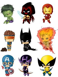 Chibi Heroes Set 1 by Artwaste on DeviantArt Comic Book Characters, Marvel Characters, Comic Character, Baby Avengers, Best Anime Drawings, Chibi Marvel, Chibi Wallpaper, Hero Poster, Drawing Superheroes
