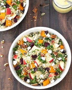 Fall harvest salad with apple cider vinaigrette - all my favorite autumn flavors come together in this vegetarian and gluten free salad!