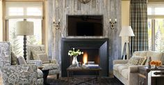 Interesting reclaimed wood fireplace mantel