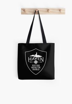 Haven Syfy Inspired Tote Bag |  Haven Keep Calm Black Badge Logo