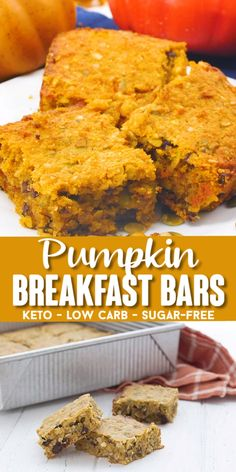 Keto Pumpkin Oatmeal Bars - Keto Recipes - Ideas of Keto Recipes - Get your pumpkin spice on with these tender and chewy keto breakfast bars. Easy to make and full of great fall flavor and completely grain-free! Delicious and fun. Low Carb Desserts, Low Carb Recipes, Cooking Recipes, Dessert Recipes, Healthy Pumpkin Recipes, Healthy Pumpkin Bread, Pumpkin Banana Bread, Healthy Bread Recipes, Pumpkin Chocolate Chip Bread