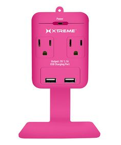 Pink Dual-Port USB Two-Outlet Wall Tap