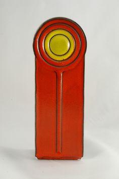 Pop Art Steuler Cari Zalloni designed Vase red-yellow and grey 289-25