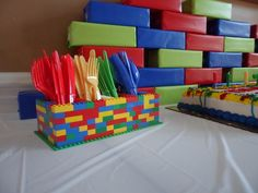 Lego birthday ideas - simple and inexpensive SILVERWARE/PLATES/CUPS So they dont blow away!