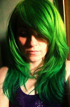 green hair #bright #green #hair #dyed