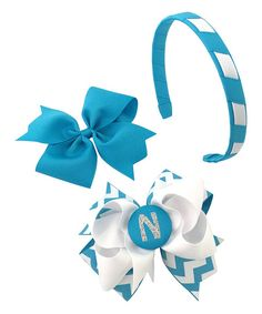 Fairy Bow Mother Turquoise Large Initial Bow Clip & Headband Set | zulily