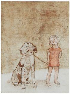 "Saatchi Online Artist: June Sira; Etching, 2006, Printmaking ""Walking The Dog"" #art #child"