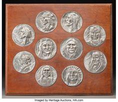 Joe Beeler (American, 1931-2006). Set of Ten Native American Medallions. Pewter.