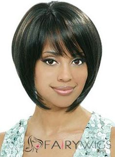 Afro American Wigs Short Straight Black African American Wigs for Women 12 Inch