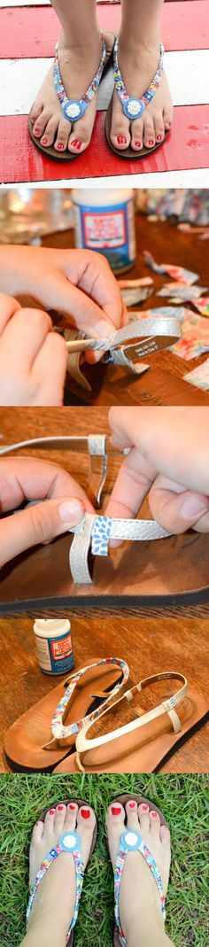 These DIY sandals are so easy to make with Mod Podge and fabric scraps - this is the perfect summer budget fashion idea!