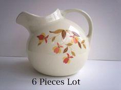Lot 6  Hall Jewel Tea Autumn Leaf Radiance Pitcher/Salt Pepper/Tin/Glass/Creamer Vintage Autum Fall Set