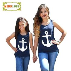 afc7cfd2 US $5.9 40% OFF|Aliexpress.com : Buy Mother And Daughter Clothes T shirt  Summer Kawaii Anchor Print Bow Sleeveless Mommy And Me Clothes Top Family  Matching ...