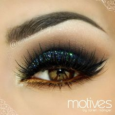Deep blue glitter and bronze eyeshadow #eye #makeup #dark #dramatic #glitter