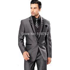 2016 Custom Made Dark Grey Groom Tuxedos Best Man Suit Wedding Groomsman/Men Suit For Wedding Bridegroom Jacket+Pants+Tie+Vest