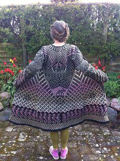 Ravelry: Project Gallery for Fly with me coat / kåpe pattern by Jorid Linvik Fair Isle Knitting, Hand Knitting, Knitting Designs, Knitting Projects, Mohair Yarn, Fair Isle Pattern, Knitted Coat, Long Sweaters, Crochet Yarn
