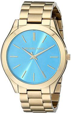 Michael Kors MK3265 Women's Slim Runway Gold-Tone Stainless Steel Bracelet Watch - http://dressfitme.com/michael-kors-mk3265-womens-slim-runway-gold-tone-stainless-steel-bracelet-watch/
