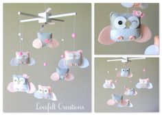 Baby Mobile  Owl Mobile  Pink and Gray Mobile  Hot di LoveFeltXoXo, $150.00