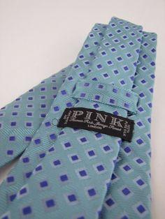 THOMAS PINK Ice Blue/Aqua Geometric Woven Silk Jacquard Neck Tie Made In England #ThomasPink #Tie