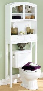 "White Bathroom Space Saver w Drawers by Holly & Martin. $161.48. Color: White. Size: 69.25""H x 24.75""W x 10.25""D. This wonderful Sophie Bathroom Spacesaver by Holly & Martin is both simple and functional. The over-toilet etagere offers a combination of two drawers, open shelving, and glass doors that make this unit perfect for any bathroom!  Use the shelves to store your toiletries, towels, and other decorative items. The bathroom cabinet is constructed of solid Chinese bir..."