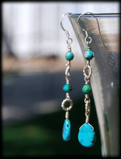 turquoise and sterling silver earrings by Morgan Newberg