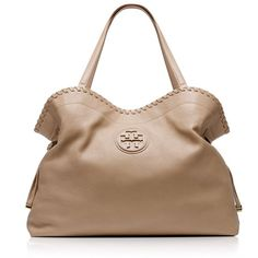 Tory Burch Marion Slouchy Tote ($550) ❤ liked on Polyvore featuring bags, handbags, tote bags, purses, bolsas, accessories, clay beige, drawstring handbags, beige tote bag and beige handbags