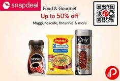 Snapdeal #Food & #Gourmet is offering Upto 50% off on Maggi, Nescafe, Britannia Products includes Tea Coffee & Beverages, Noodles, Soups & Pasta, Biscuits & Snacks, Breakfast Foods, Ready To Cook & Eat, Sauces, Pickles & Dressings, Baking Essentials, Baby Food, Chocolates, Candies & Gums, Staples, Oils & Spices, Dairy, Dry Fruits, Nuts & Gifts Boxes.   http://www.paisebachaoindia.com/food-gourmet-upto-50-off-maggi-nescafe-britannia-products-snapdeal/