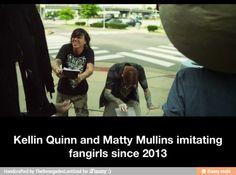 Kellin Quinn and Matty Mullins imitating fangirls since 2013