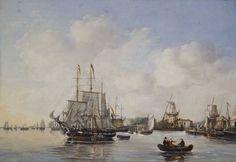 Schilderij 18e eeuw vanaf de Maas met zicht op de Leuvehaven!!
