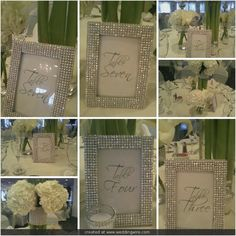Set of 10 - Rhinestone Ribbon Wrap 4x6 Frames - Table Number Frames, Menu Holders, Food Signs - Truly Bling Out Your Wedding Or Party