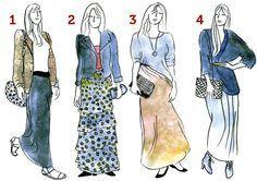 Confira no blog como usar saia longa, saia longa combina com todos os biotipos de mulher,veja no blog qual é a saia longa que mais combina com você, moda