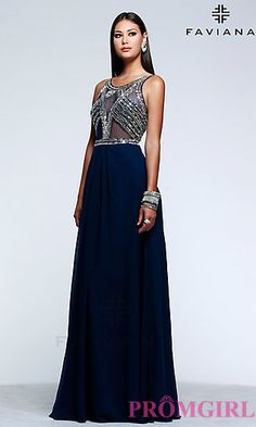 Full Length Chiffon High Neck Gown by Faviana. Shop the look: http://www.promgirl.com/shop/dresses/viewitem-PD1316370
