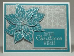 A Joyful Christmas stamp set card with Winter Frost Paper and Silver Encore ink.