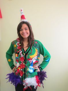 Totally Covered Frankenstein Wild Wacky Tacky Ugly Christmas Sweater Cardigan with a Mish-Mash of Christmas Light up Snowman Size M Women's