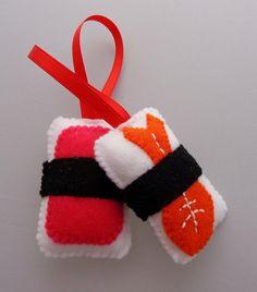 Felt Sushi Christmas Ornaments Ebi Shrimp & by DanielleLondon