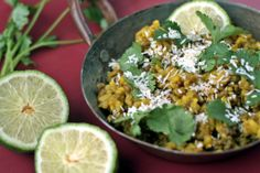 Kitchari with cilantro, coconut and lime: the perfect dish to rebalance your digestion and cleanse your system.