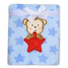 Baby Starters® Monkey Star Plush Blanket in Blue