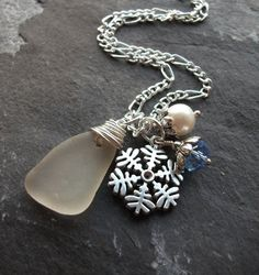 2be87e6decbfe Scottish Seaglass Necklace with a Freshwater by byNaturesDesignCL, £16.00  Sea Glass Necklace, Beautiful