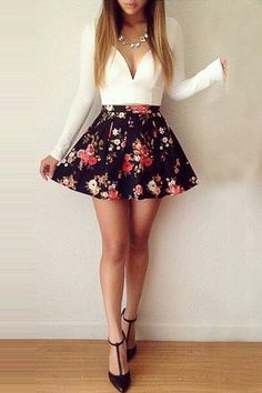 The skirt may be a little too short for me but this outfit is super cute