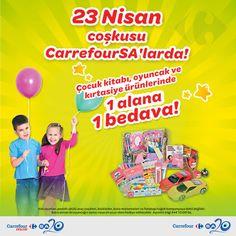 CarrefourSA 23 Nisan Kampanyası Çocuk Kitabı, Kırtasiye Ürünleri ve Oyuncaklarda 1 Alana 1 Bedava!