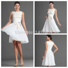 Free Shipping 2014 Best Selling Homecoming dress White Lace and chiffon Short knee-length Homecoming dresses vestido de festa