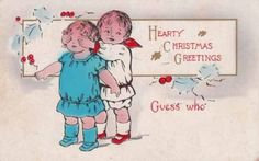 Antique-CHRISTMAS-POSTCARD-c1914-Two-Young-Children-Peekaboo-Guess-Who-12747