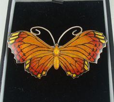 Antique JA Sterling Silver Enamel Butterfly Brooch/Pin John Atkins and Sons