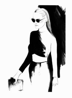"""""""The Smart Set"""" inspiration: A personal transformation starts with you picking who you want want your best self to be. - Levnow Fashion Illustration, drawings, women Ausländer Fashion Show Winter 2014 with Yasmin Brunet. By Kornelia Debosz Illustration Mode, Fashion Illustration Sketches, Fashion Sketchbook, Fashion Design Sketches, Ink Illustrations, Drawing Sketches, Fashion Drawings, Black White Fashion, Black And White"""