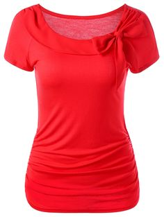 $12.42 Ruched T-Shirt With Bowknot - Red