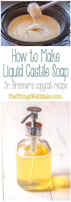 Dr. Bronner's soap is a versatile, all purpose cleaner that is a great addition to any household, but let's face it, it's quite expensive. Learn how to make liquid Castile soap at home. It's easy, frugal, and very rewarding. #soap #castilesoap #liquidsoap via @thethingswellmake