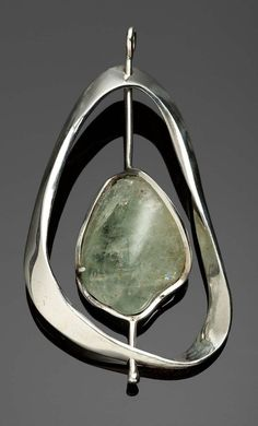 Pendant | Lois Franke Warren.  Sterling silver and green beryl.  ca. 1954