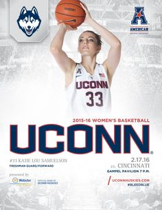 9a138e62548 Freshman guard/forward Katie Lou Samuelson is on the front of the UConn  Huskies Women's Basketball Roster Card vs. Cincinnati on February 17 at  Gampel ...